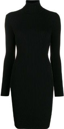Black Ribbed Knit Sweater Dress-Wolford