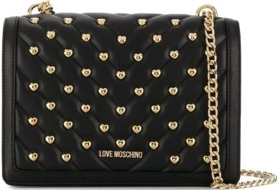 Black Quilted Crossbody Bag-Love Moschino