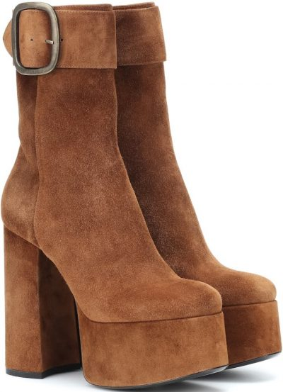 Brown Billy Suede Plateau Ankle Boots-Yves Saint Laurent