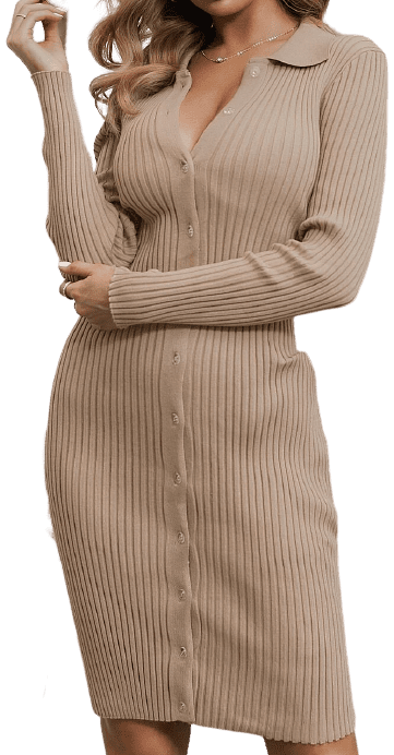 Beige Button Front Rib-Knit Sweater