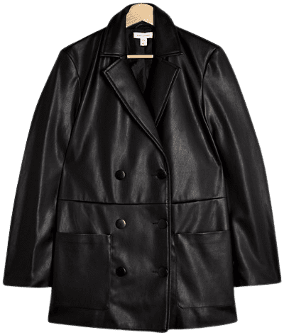 Black Faux Leather Double Breasted Blazer-Topshop