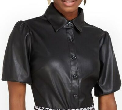 Black Faux-Leather Puff-Sleeve Shirt-New York & Co.