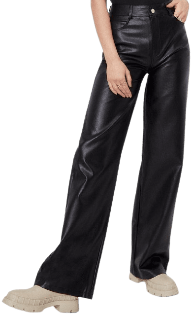 Black Faux Leather Straight Wide Leg Pants-Nasty Gal