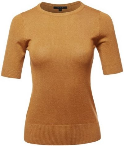 Bronze Half Sleeve Knit Pullover Sweater-A2Y