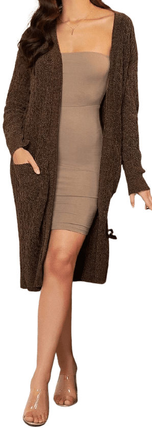 Brown Open Front Pocket Patched Cardigan-Shein