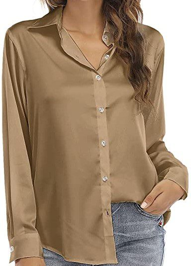 Brown Silk Button Up Blouse-Hiweld