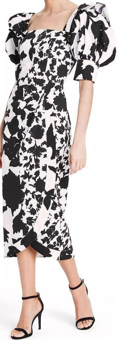 Floral Puff Sleeve Faux Wrap Dress-Christopher John Rogers