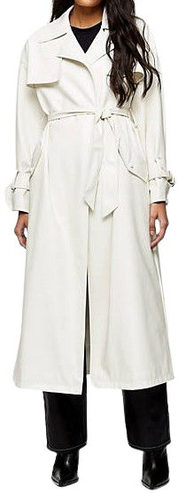 Ivory Belted Maxi Faux Leather Trench Coat-Topshop