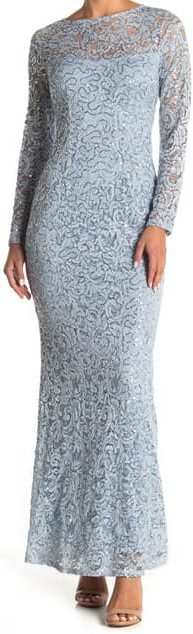 Light Blue Sequin Lace Long Sleeve Gown