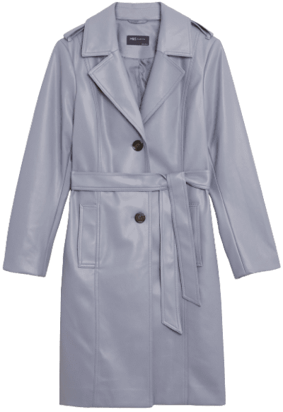 Medium Blue Faux Leather Belted Trench Coat-Marks and Spencer