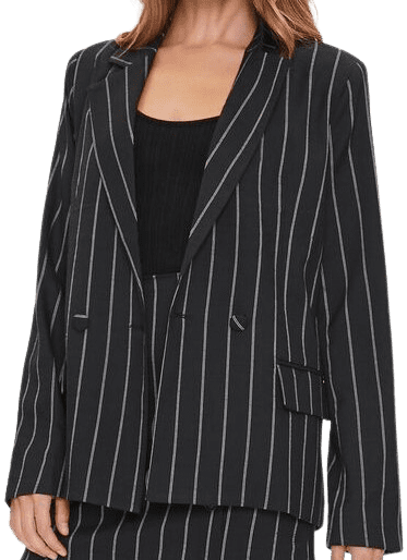 Pinstriped Button-Front Blazer-Forever 21