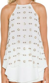 White Beaded Embroidery Halter Top-Endless Rose