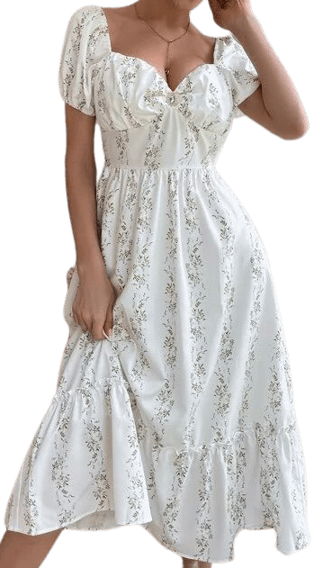 White Floral Sweetheart Neck Dress-Shein
