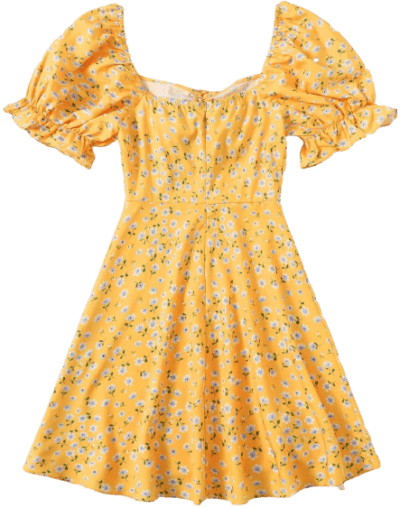 Yellow Puff Sleeve Floral Dress-Shein