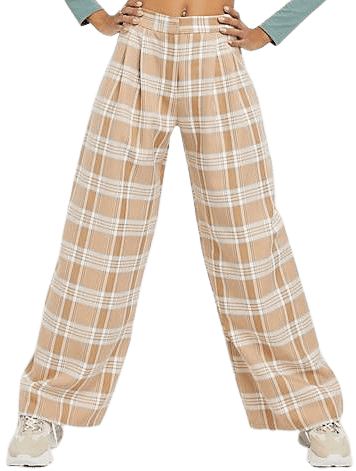 Camel Plaid Ultimate Slouch Dad Pant-Asos Design