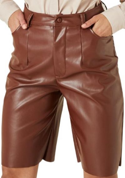 Chocolate Faux Leather Bermuda Shorts-Missguided