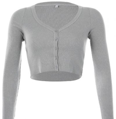 Grey Cropped Ribbed Button Cardigan