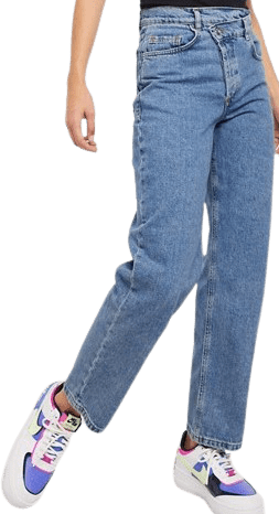 Vintage Wash Blue Dad Jeans With Stepped Waistband-Collusion X 014