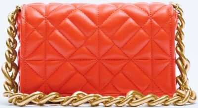 Coral Red Quilted Chain Strap Shoulder Bag-Zara
