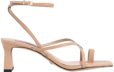 Nude Leather Strappy Crossover Sandals-Charles & Keith