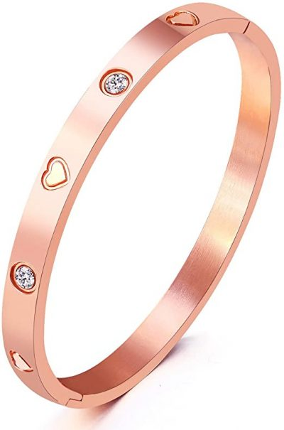 Rose Heart Stainless Steel Bangle-MVCOLEDY