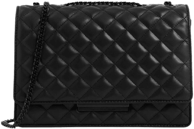 Ultra-Matte Black Quilted Chain Strap Shoulder Bag-Charles & Keith