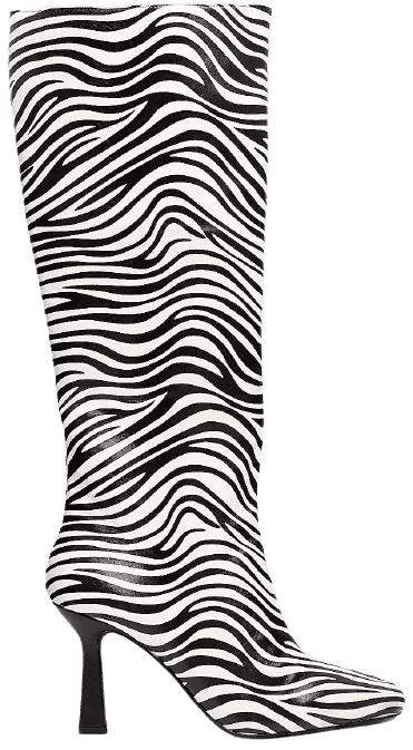Zebra Faux Leather Knee-High Boots