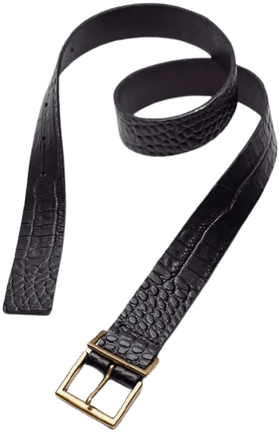 Black Croc-Embossed Leather Belt-Urban Outfitters