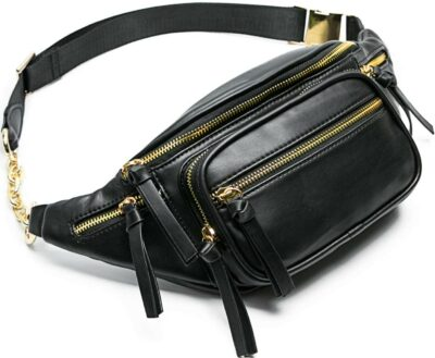 Black Leather Fanny Pack-Miss Fong