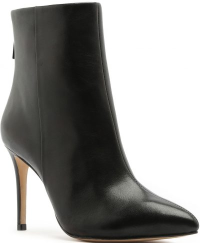 Black Michela Point-Toe Leather Ankle Boots