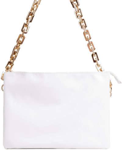 White Faux Leather Chunky Chain Shoulder Bag-Ego