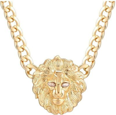 Gold Chunky Chain Lion Head Necklace-Lola Fashion Accessories