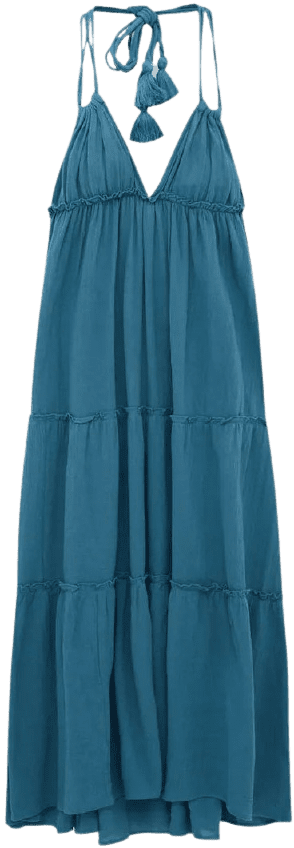 Blue Strapped Open Back Long Dress-Pull and Bear