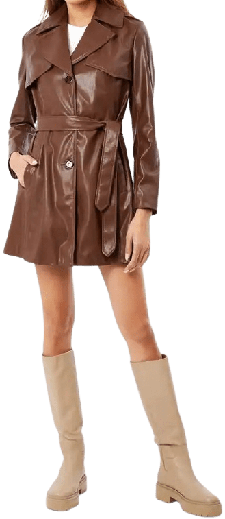 Brown Belted Faux Leather Trench Coat-Sam Edelman