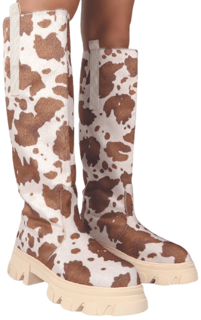 Cow Print Knee High Chunky Sole Boot-Amber X Public Desire