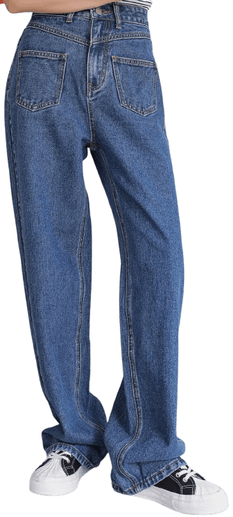 High Waist Pocket Patched Jeans-Shein