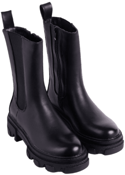 Black Faux Leather Ankle Biker Boot-Ego
