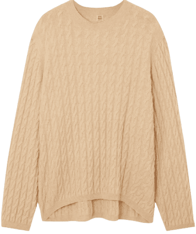 Beige Cable-Knit Cashmere Sweater
