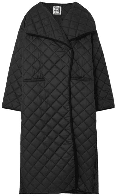 Black Annecy Oversized Quilted Padded Shell Coat-Totême