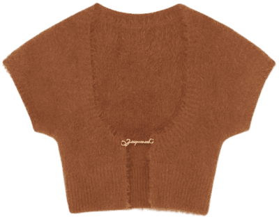 Brown La Maille Neve Cropped Cardigan-Jacquemus