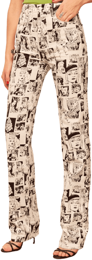 Comic Newsprint High Rise Straight Long Jeans-Reformation