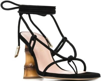 Black Eolo Bamboo Heel Sandals-Gia Couture