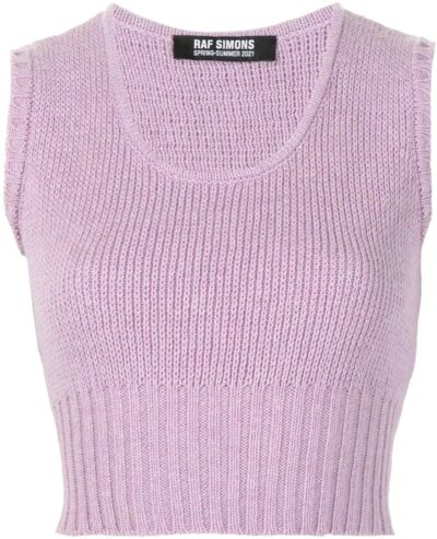Purple Sleeveless Cropped Knitted Top-Raf Simons