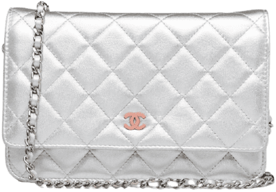 Silver Quilted Lambskin Leather WOC Clutch Bag-Chanel