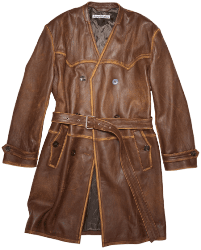 Brown Belted Leather Coat-Acne Studios