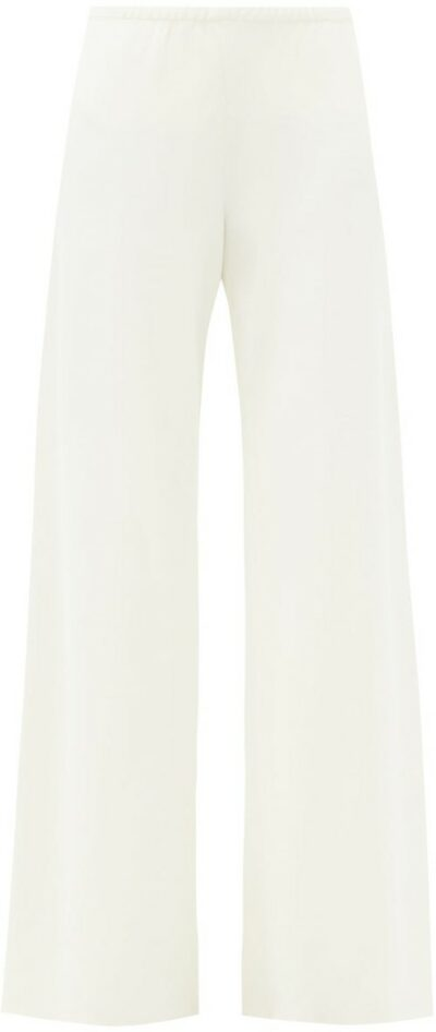 White High-Rise Cady Wide-Leg Trousers-The Row