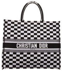 Plaid Emboidered Book Tote-Christian Dior