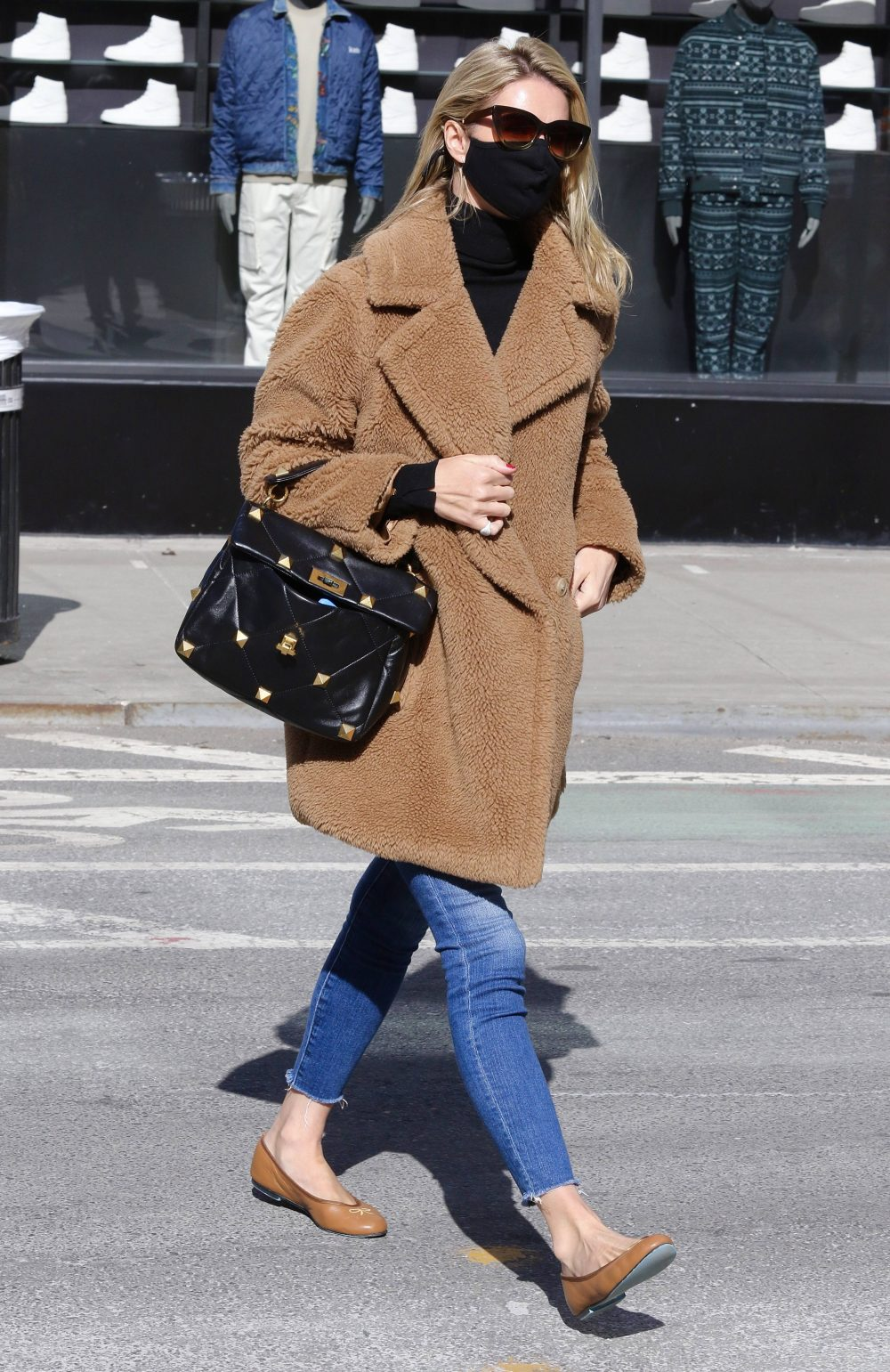 Nicky Hilton looks stylish in a brown teddy bear coat while out on a cold day NYC