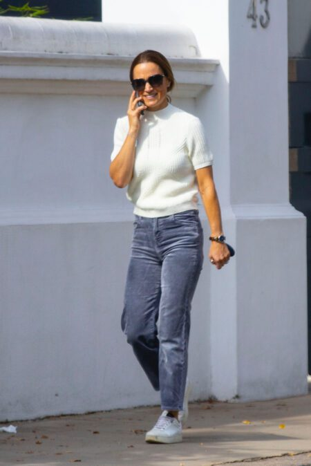 EXCLUSIVE: Pippa Middleton is seen for the first time since her brother James secret south of France wedding as she walks in sunshine in west London
